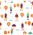 pattern people in autumn park vector image vector image