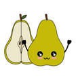 pear delicious fruit cute kawaii cartoon vector image