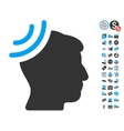 Radio Reception Brain Icon With Free Bonus vector image vector image