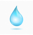 realistic detailed 3d pure blue water drop vector image vector image