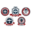 Retro flight emblem logo label set vector image vector image