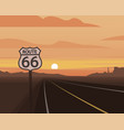route 66 and sunset scene vector image vector image