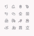 set flat icons linear natural products vector image vector image