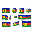 set new caledonia realistic flags banners vector image