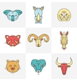 Set of animals linear flat icons labels vector image vector image