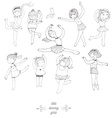Set of dancing young girls isolated on white fun vector image