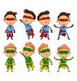set of kids wearing superheroes costumes vector image