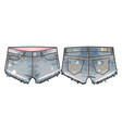 short denim shorts vector image vector image