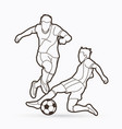 soccer player action outline graphic vector image vector image