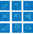 space icons in blue vector image vector image
