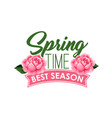 spring time season roses flowers bunch icon vector image vector image