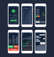 trading mobile app interface template set vector image vector image