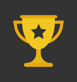trophy cup flat icon simple winner symbol gold vector image vector image