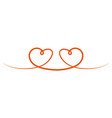two hearts are drawn to each other a symbol vector image vector image