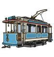 Vintage blue tramway vector image