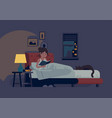 woman reading in her bed before she go to sleep vector image