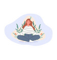 women sitting on floor and meditating in lotus vector image