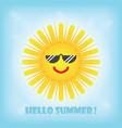 hello summer smiling yellow sun emoji icon with vector image