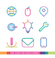 set from 9 color universal icons for web and vector image