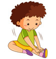 a boy stretching exercises vector image vector image