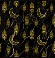 arabic golden lantern seamless pattern vector image vector image