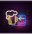 bar neon beer mug sign background image vector image vector image
