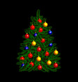 beautiful decorated christmas tree vector image