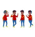 boy poses set black afro american school vector image vector image