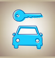 car key simplistic sign sky blue icon vector image vector image