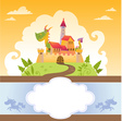 Card With Cartoon Dragon in Castle vector image