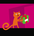 cats life red cat carries home the parcel vector image