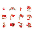 china flag and hand on white background vector image