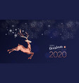 christmas and new year 2020 card copper deer vector image vector image