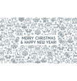 christmas banner thin line vector image vector image