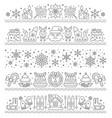 christmas border seamless xmas pattern line vector image