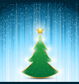 christmas pine tree with gold star on festive vector image vector image