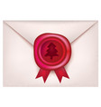 christmas wax seal with red ribbons retro stamp vector image vector image
