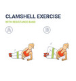 clamshell with resistance band sport exersice vector image vector image