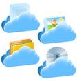 cloud open document communication set vector image vector image