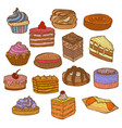 colored set of sweets in hand drawn doodle style vector image vector image