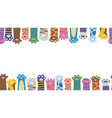 colorful banner border consist cats paws flat vector image vector image