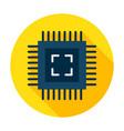 computer chip flat circle icon vector image