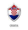 croatia flag on metal shiny shield vector image