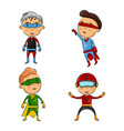 cute four kids weariang superhero costumes vector image vector image