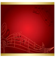 dark red background with music notes - musical vector image vector image