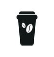 Disposable coffee cup icon with beans logo