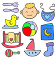 doodle of baby element set various vector image vector image