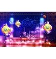 Eid Mubarak greeting with illuminated lamp vector image vector image