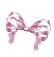 elegant pink ribbon bow realistic design vector image