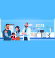 family doctor with happy parents and kids over vector image